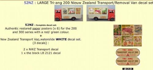52NZ LARGE Tri-ang 200 New Zealand Transport / Removal Van Paper and White decal set